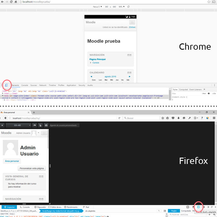 Developer Tools en chrome y firefox