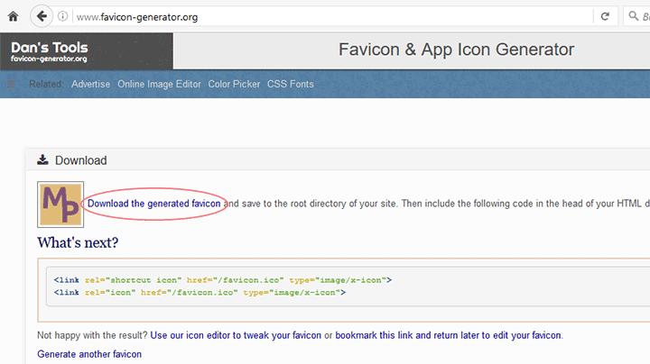 Favicon generado online pantalla final