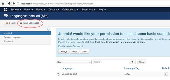 joomla configuracion idioma 1