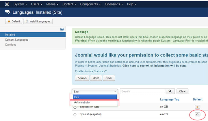 joomla configuracion idioma 5