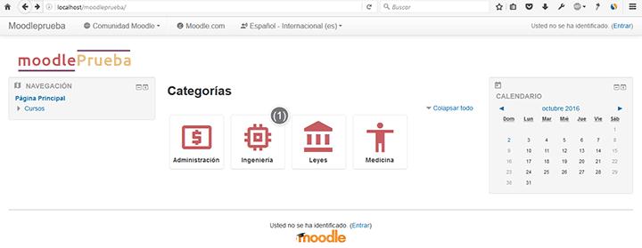 pantallazo resultado final cambiando iconos en las categorías de los cursos de Moodle