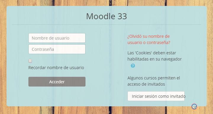 bloque de usuario y contraseña en login de moodle