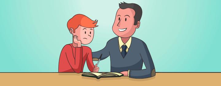 profesor motivando a estudiante