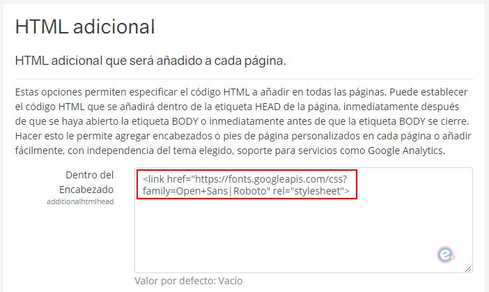 código html adicional para agregar google fonts en moodle
