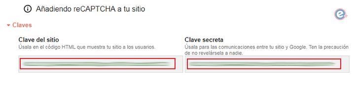 claves del sitio y clave secreta en google recaptcha
