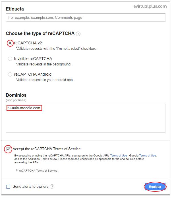 opciones de registro en google recaptcha