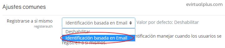 seleccionando registro basado en email en Moodle