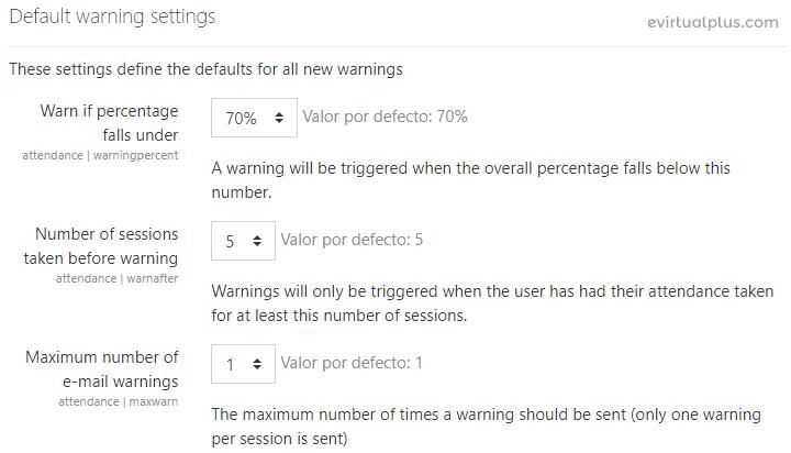 opciones de configuración de adventencias en attendance de moodle