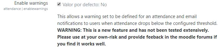 habilitar advertencias en el plugin attendance