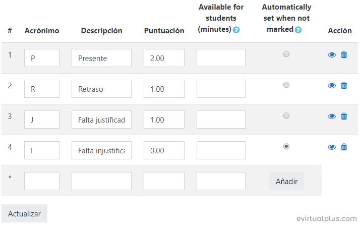 nomenclatura de asistencia en moodle con attendance