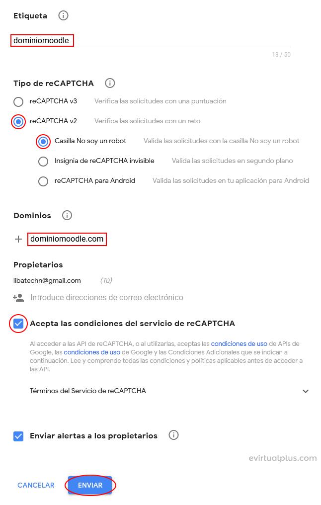 formulario para obtener recaptchas en google