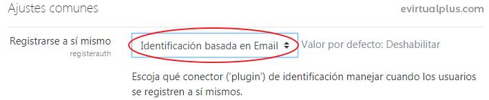 habilitar identificar por email menu desplegable