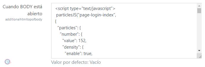 Código html json de partículas animadas