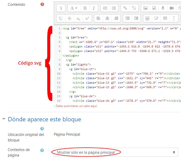 código svg para agregar árbol de navidad animado en moodle