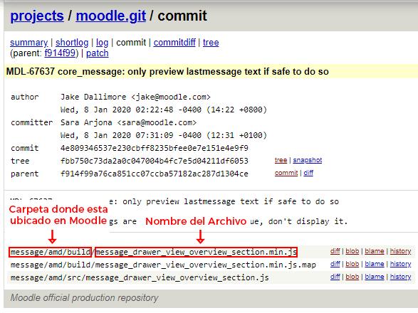 nombre y ubicación de archivos vulnerables en git.moodle.org