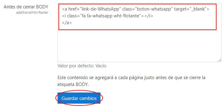 agregando código html para boton de whatsapp en moodle