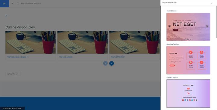 constructor de pagina de inicio en edwiser remui en moodle