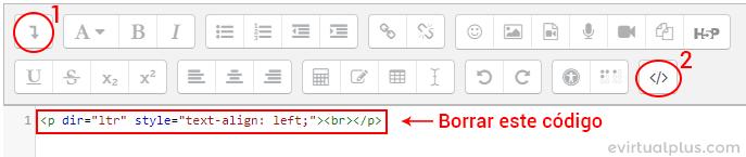 mostrar botón agregar html en editor de texto de moodle