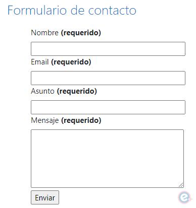 vista del formulario de contacto en moodle