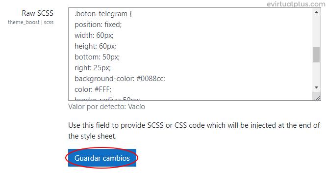 Agregar código CSS para botón de contacto de Telegram en Moodle