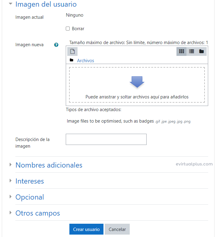 campos adicionales al crear usuarios en moodle