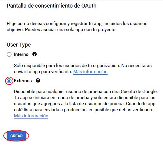 crear pantalla de consentimiento en Oauth