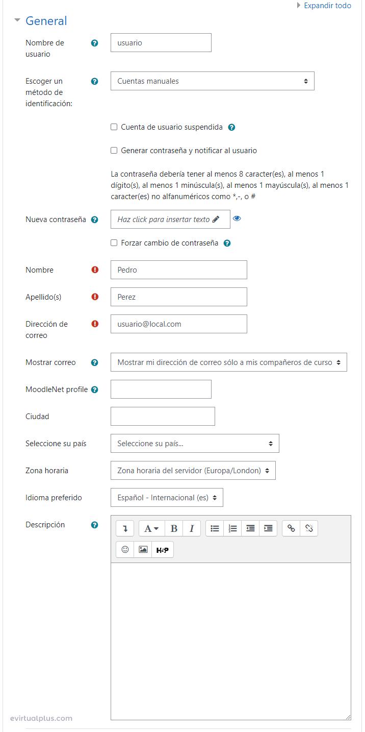 Formulario para añadir manualmente usuario en Moodle