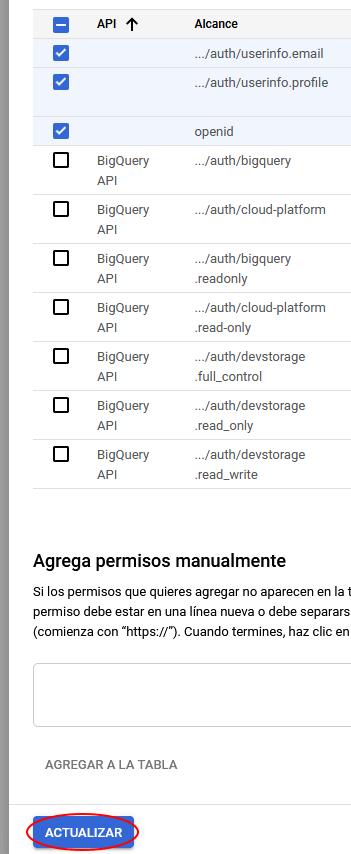 pantalla permisos gcp para oauth moodle